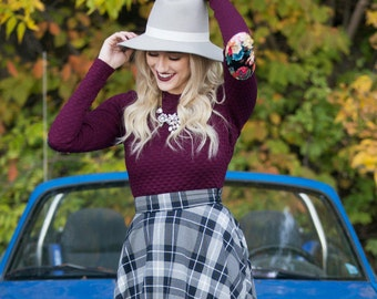 High Waisted Tea Length Navy and Silver Plaid Skirt. Full Flare Skirt and Waistband Detail