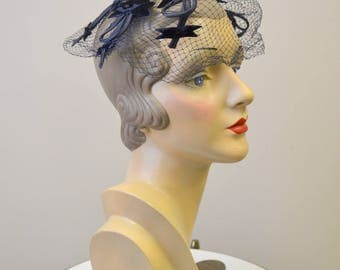 1960s Navy Velvet Bow Whimsy Hat