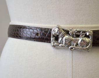 1980s Brighton Leopard Buckle Brown Leather Belt