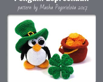 Leprechaun Penguin - crochet toy pattern for St. Patrick's Day - amigurumi photo tutorial - four leaves clover and cauldron with gold