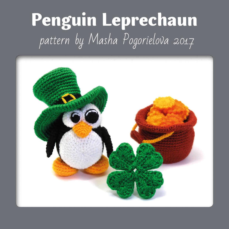 Tutorial Amigurumi Pinguino : Leprechaun Penguin - crochet toy pattern for St. Patricks ...
