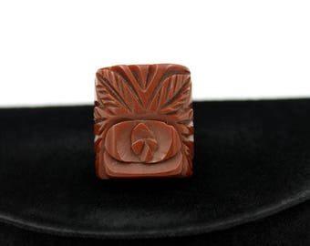 Carved Chocolate Bakelite Ring, size 5 1/4