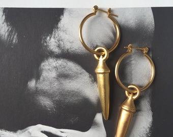 Gold spikes earrings , gold hoop earrings , gold spikes pendants , boho jewelry
