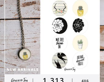 1.313 inch circles, buttons, magnets, boho chic, succulents, cactus, antlers,quotes, handlettered, Gracie and Joy, digital download