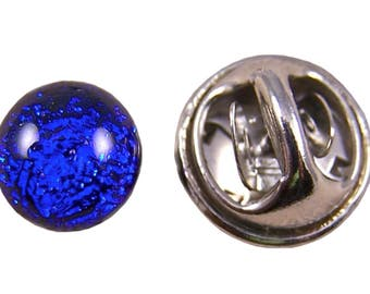 "Dichroic Glass Tiny Tie Tack - Cobalt Blue Sapphire Fused Glass - 1/4"" 8mm - Scarf Pin Flair for Suspenders Hat or Coat"