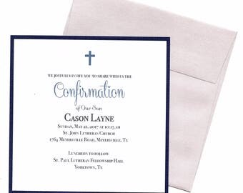 Confirmation Invitations Boy Navy- Christening, First Communion, Baptism, Dedication