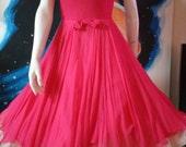 1950's 60s Hot Pink Chiffon Beaded Silk Cocktail Dress  Party Martinis Full Skirt  Mad Men Rat Pack Vegas Rockabilly VlV