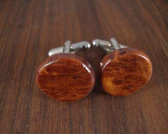 Natural Wooden Men's Cuff Links - Round - Redwood Burl wood - Wedding, anniversary, any Special Occasion