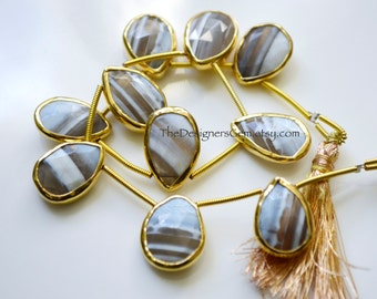 Smaller Size, Striped Agate Rimmed Beads, Agate Beads, Bezeled Agate Beads, Gray-Blue White and Brown, Gold Bezeled Beads 16x11mm