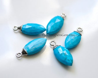 Turquoise Howlite Sterling Silver Marquis Pendant, Turquoise Pendant, Silver Dipped Pendant  20x8mm