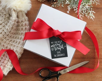 Set of 8 - Holiday Gift Boxes - May Your Days Be Merry and Bright Tag | Personalized Gift Boxes | Baked Goods Gift Boxes |  Cookie Boxes