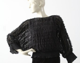 1970s black ruffle blouse by Andree Gaye Shirt Off My Back top
