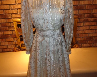 Vintage 60s Holiday Christmas Silver and White Coat Dress