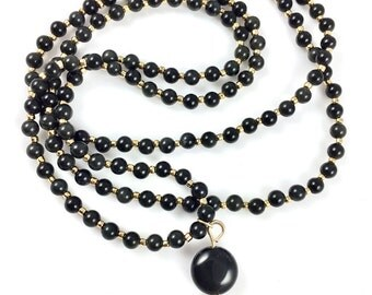 Long rainbow obsidian and gold necklace