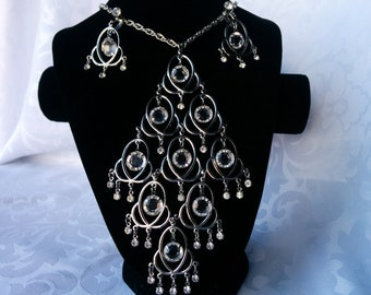 Vintage Celebrity Necklace and Earrings Set, Bib Style, Waterfall