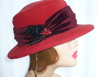 Paprika Red Polar Fleece Wire Brim Hat/Fedora