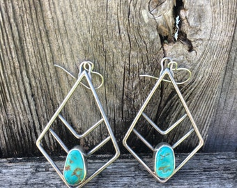 Sterling silver and turquoise chevron earrings