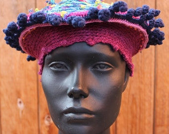 Navy Blue & Colorful Top Crochetted Beret Hat...