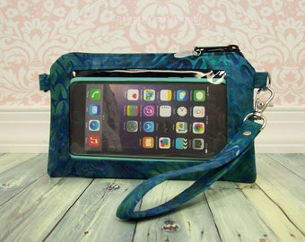 Cell Phone Wristlet - original or extra large - batik - blue - purple - teal - Keep in Touch Wristlet