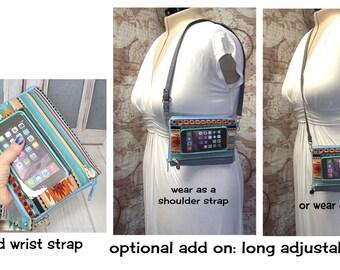 Add a long adjustable strap, crossbody strap, shoulder strap, clips on, detachable