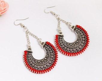 Silver/Red Dangle Earrings