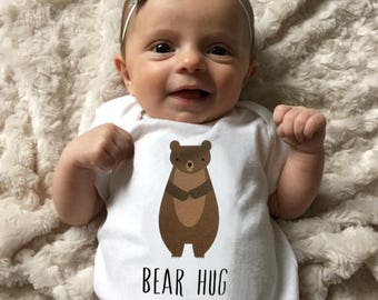 Bear baby clothes, bear baby bodysuit, baby boy clothes, baby girl clothes, bear baby gift