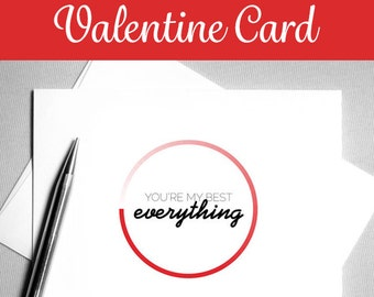 Romantic Valentine Card. Printable Valentine. DIY Valentine. Modern, Minimal Card. Valentine Card Him or Her. Minimalist. Instant Download.