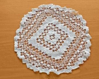 Vintage Bobbin Lace Doily, Beige Color Doily, 7.5 inch Lace Doily