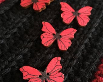 Set of 4 Wooden Painted Butterfly Buttons, 1 1/4 inch, 1.25 inches, 30 mm, Great for Knits, Sewing, Crochet, Decorative, Red, Black