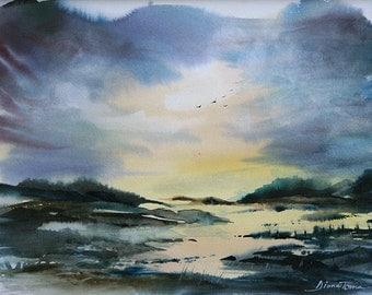"""Landscape no.2 / 11""""x14"""" original watercolor painting"""