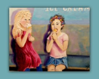 Original Oil  ICE CREAM with YOU, Original Oil Painting, children, kids, friends, painting, signed by the artist