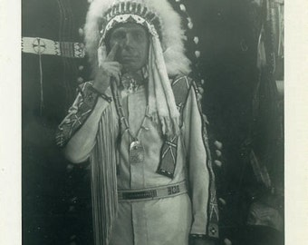 "RARE Candid Vintage Photo ""Iron Eyes Cody"" Snapshot Antique Photo Old Black & White Photograph Found Paper Ephemera Vernacular - 160"