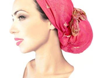 Hot pink ethnic head scarf fuchsia hippie boho chic snood tichel pre tied bandana chemo hat cap headwear ShariRose pashima soft gold