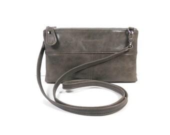 Small Leather Crossbody Bag, Gray Crossbody Clutch, Small Leather Purse, Leather Evening Bag, Leather Handbag, Clutch Purse, Made in USA