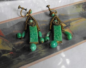 Deco Czech Peking green glass earrings  Neiger? drop Deco earrings  Antique green earrings