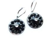Black Earrings, Small Black Earrings, Round Black Earrings, Black Round Earrings, Black Resin Earrings, Black Silver Earrings, Small