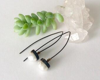 Pearl Threader Earrings, Boho Chic Designer Jewelry,  Gift For Her