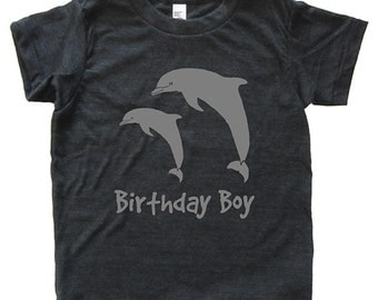 Birthday Boy Dolphin Tshirt - Kids Dolphin Pair Shirt - Tee - Youth Boy Shirt / Super Soft Kids Tee Sizes 2T 4T 6 8 10 12 - Triblend Gray
