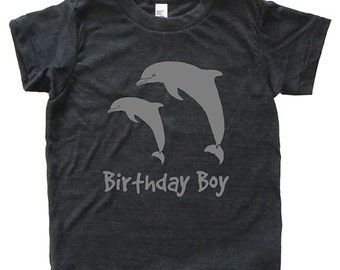 Birthday Boy Dolphin Tshirt - Kids Dolphin Pair Shirt - Tee - Youth Boy Shirt / Super Soft Kids Tee Sizes 2T 4T 6 8 10 12 - Triblend Gray
