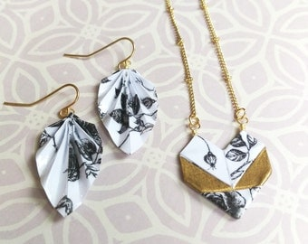 Origami Jewelry Set // Black, White and Gold