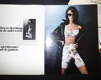 """1967 Jantzen Lingerie 2-page Ad - Female Spy """"Underblossoms"""" Flowery Foundations Sexy Brunette in Slick Black Raincoat Fashion Photography"""