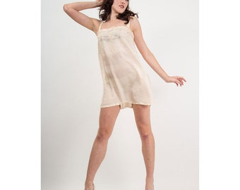 1920s Lingerie / Vintage silk step in teddy / Pink embroidered envelope chemise