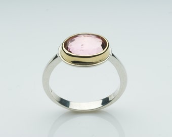 Pink Tourmaline and silver ring - October Birth Stone - Silver and Gold ring - non-traditional engagement ring - alternative wedding ring