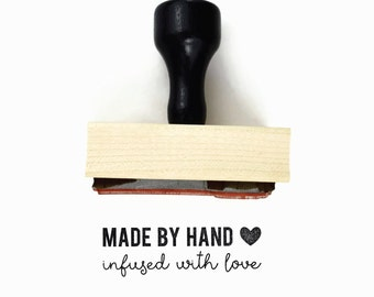 Rubber Stamp Made by Hand, Infused with Love - DIY Snail Mail Packaging for your Handmade Goods - Wood Mounted Stamp by Creatiate