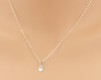 Acorn Necklace, Acorn Pendant, Acorn Tree, Oak Tree Nut, Sterling Silver, Acorns, Gifts, BeadXS, Gift Idea, For Her, Acorn Nuts