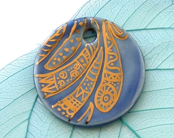 Ceramic pendant ~ round pendant focal, hand drawn copper doodle necklace, jewelry making supplies, jewellery component, jewelry makers gift
