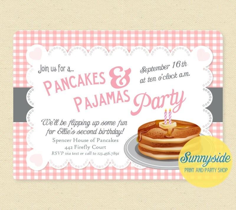Pancakes and Pajamas Invitation Girls Birthday Pajama Party