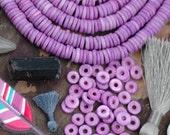 Frosted Grape : Purple Discs, Large Hole Bone Heishi Spacer Beads, 7x2mm, Boho Yoga Mala Jewelry Making Supply, Beachy Bohemian, 80+ pcs