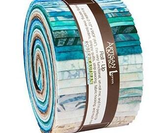 Kaufman Batik Fabric Strips Jelly Roll Rollup, Elementals Landscapes 2, RU-607-40 Quilting