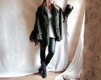 SALE Shearling and Boiled Wool Wrap Coat/ Waterfall Cascade Collar - Army and Forest Green - Ready to Ship